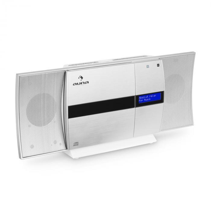 V-20 DAB Chaîne stéréo verticale Bluetooth NFC CD USB MP3 DAB+ argent blanc