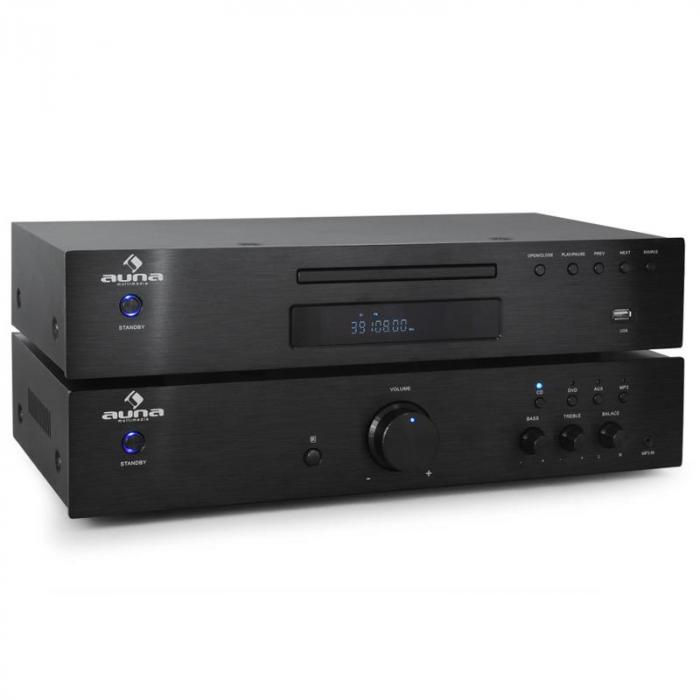 Ensemble HiFi 2.0 Auna Elegance Tower Lecteur CD 600W
