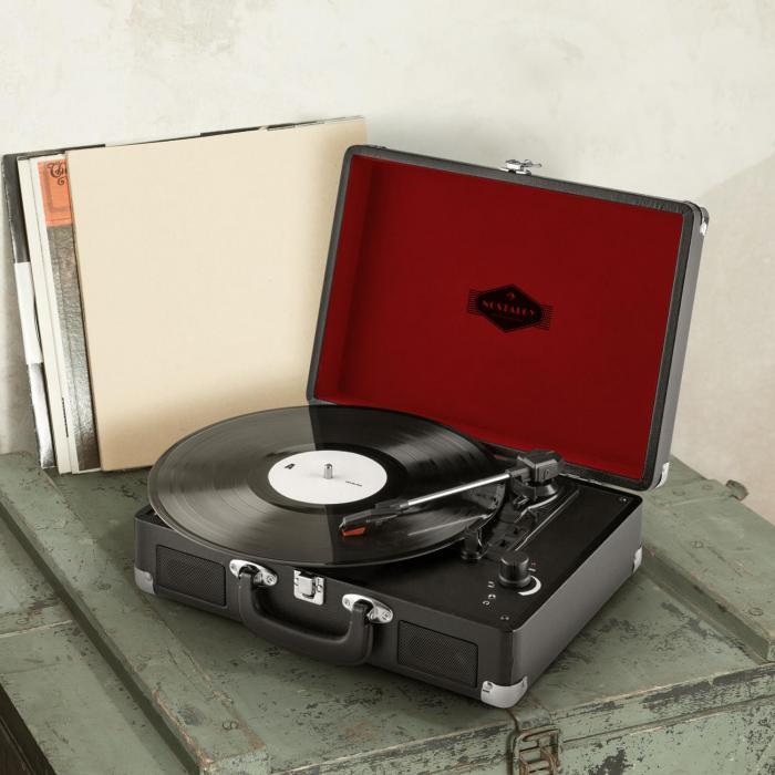 peggy sue platine vinyle portable design retro 2 haut parleurs usb noir noir. Black Bedroom Furniture Sets. Home Design Ideas